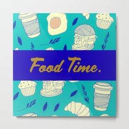 Blue Food Time Pattern Metal Print
