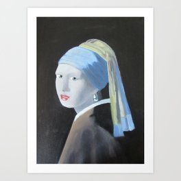Vermeer Homage, Girl with pearl earring Art Print