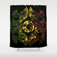 maori Shower Curtains featuring Rasta Colors on Maori Patterns by Lonica Photography & Poly Designs