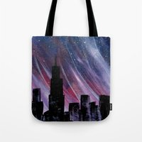 chicago Tote Bags featuring Chicago by Tesseract