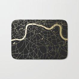 London Black on Gold Street Map Bath Mat