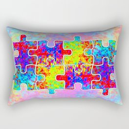 Autism Colorful Puzzle Pieces Rectangular Pillow