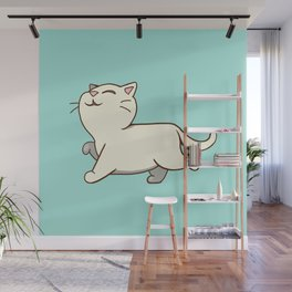 Proud cat pattern blue Wall Mural