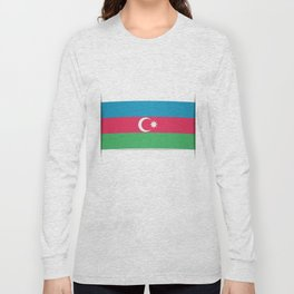 Flag of Azerbaijan. The slit in the paper with shadows.  Long Sleeve T-shirt