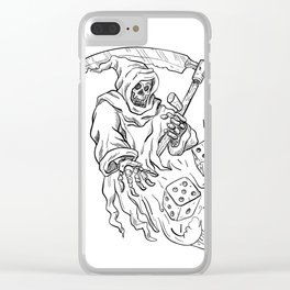 The Grim Reaper Rolling the Dice Drawing Black and White Clear iPhone Case