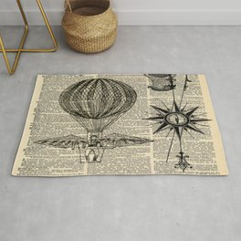 newspaper print victorian steampunk airship plane hot air balloon Rug