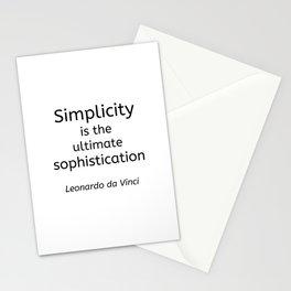 Simplicity is the ultimate sophistication - Leonardo de Vinci Stationery Cards