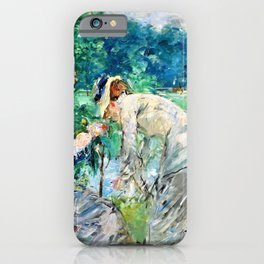 Berthe Morisot - In the Bois de Boulogne - Digital Remastered Edition iPhone Case