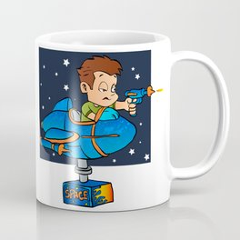Cartoon Boy in imaginary Rocket Coffee Mug