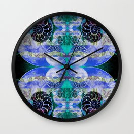Brilliant Blue and Green Nautilus Fantasy Abstract Wall Clock