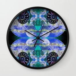 Brilliant Blue and Green Nautilus Fantasy Abstract Wall Clock