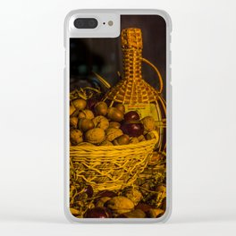 Still-life with nuts and wine Clear iPhone Case