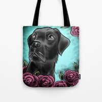 lab Tote Bags featuring Black Lab... by Lily Fitch