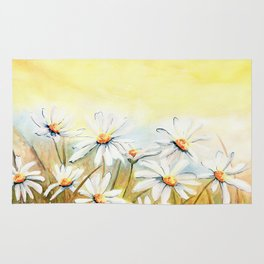 Daisies Watercolor Rug