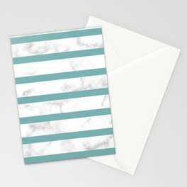 marble horizontal stripe pattern turquoise Stationery Cards