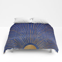 Twilight / Blue and Metallic Gold Palette Comforters