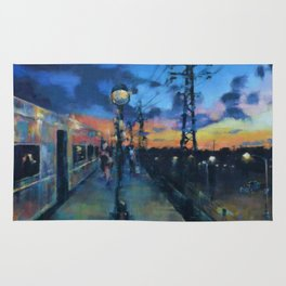 Sunset from a Train Platform Rug