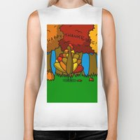 thanksgiving Biker Tanks featuring Happy Thanksgiving! by Veronica Nagorny