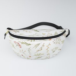 Modern Pink Yellow Green Watercolor Floral Berries Fanny Pack