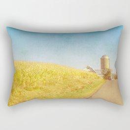 Golden Yellow Cornfield and Barn with Blue Sky Rectangular Pillow