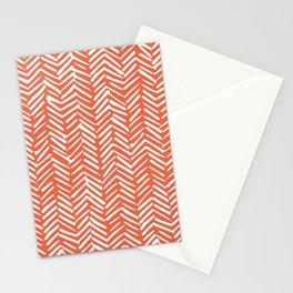 Boho Herringbone, Mudcloth Pattern, Orange Coral Stationery Cards
