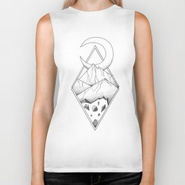 Geometric mountain in a diamonds with moon (tattoo style - black and white) Biker Tank