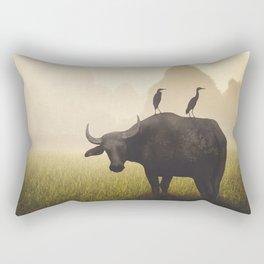 Water Buffalo And Egrets Rectangular Pillow