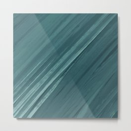 Acrylic brush strokes background - grayish green Metal Print