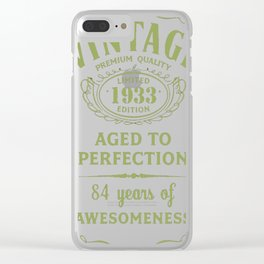 Green-Vintage-Limited-1933-Edition---84th-Birthday-Gift Clear iPhone Case