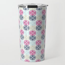 Floral Geometric - Navy & Pink Travel Mug