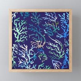underwater blue corals Framed Mini Art Print