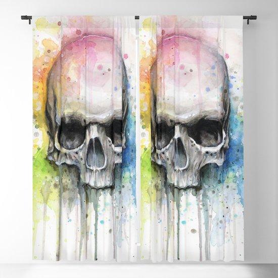 Skull Rainbow Watercolor by olechka