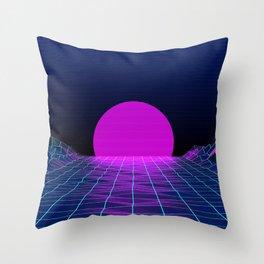Retro style 1980s abstract synthwave grid digital art vector CGI Sun Digital Grid  Throw Pillow
