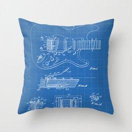 Guitar Tremelo Patent - Guitarist Art - Blueprint Throw Pillow