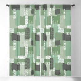 Olive Linen Abstract Color Block Pattern Blackout Curtain