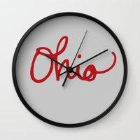 ohio Wall Clocks featuring Ohio by Alisha Williams