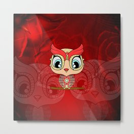 Cute owl, mandala design Metal Print