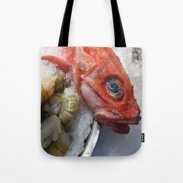 Red Fish Shrimp Market Tote Bag