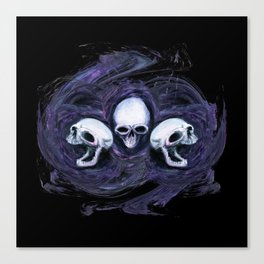 Tripple Skull Shirt Design Canvas Print