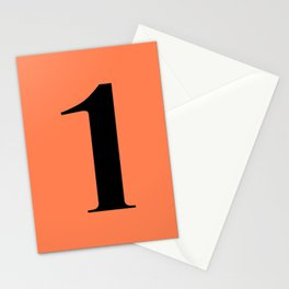 1 (BLACK & CORAL NUMBERS) Stationery Cards