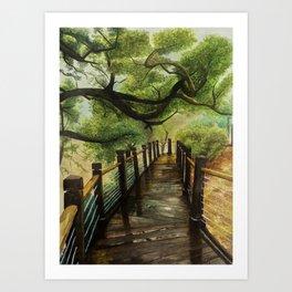 Lakehouse Bridge Art Print