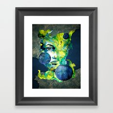 Evelin Green (Set) by carographic watercolor portrait Framed Art Print