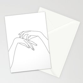 Hands line drawing illustration - Clea Stationery Cards