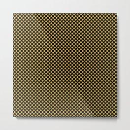 Black and Spicy Mustard Polka Dots Metal Print