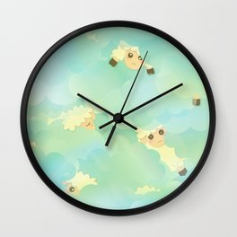 Heavenly Baby Sheep I - Mint Green, Baby Blue Colors Sky Background Wall Clock