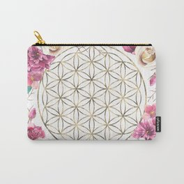 Flower of Life Rose Garden Gold Carry-All Pouch