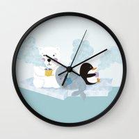 coffe Wall Clocks featuring polar coffe by Proyecto Melón
