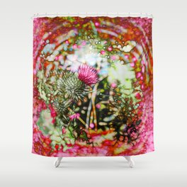 Vibrant abstract  thistle Shower Curtain