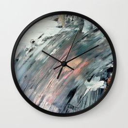 Frost: a minimal, abstract mixed media piece in white, blue, gold, and pinks Wall Clock