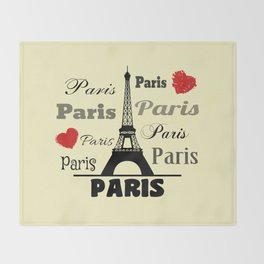 Paris text design illustration 2 Throw Blanket